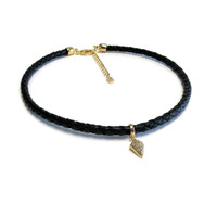 Spike Gold Leather Choker