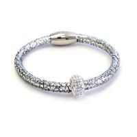 Metallic Silver Kids Leather Bracelet