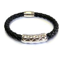 Vacay Bar Leather Bracelet Silver