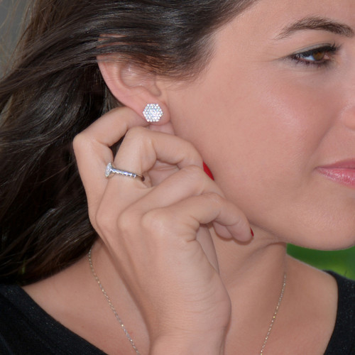 The Pave Nut Silver Earring