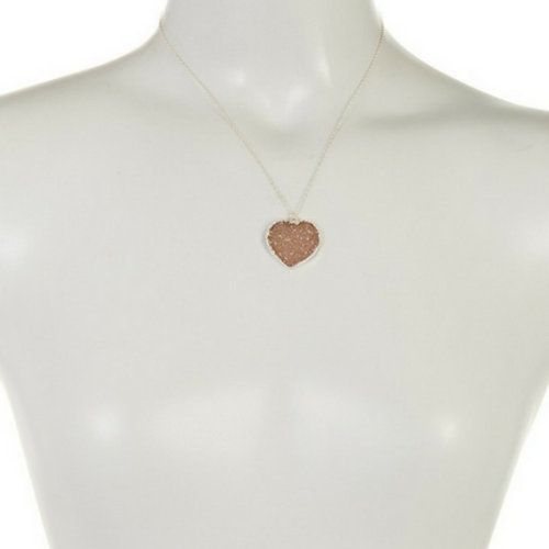 Earthish Druzy Heart Necklace Silver