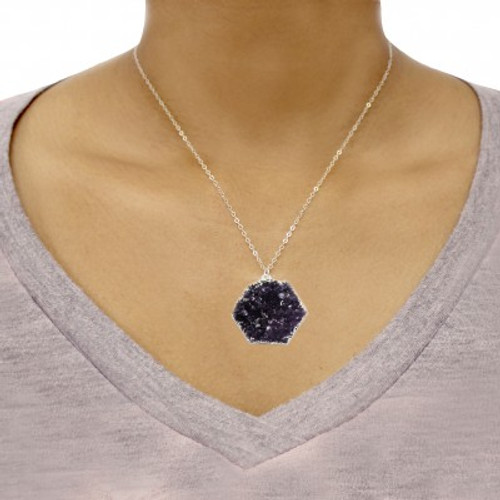 druzy teardrop necklace liza schwartz jewelry. Black Bedroom Furniture Sets. Home Design Ideas