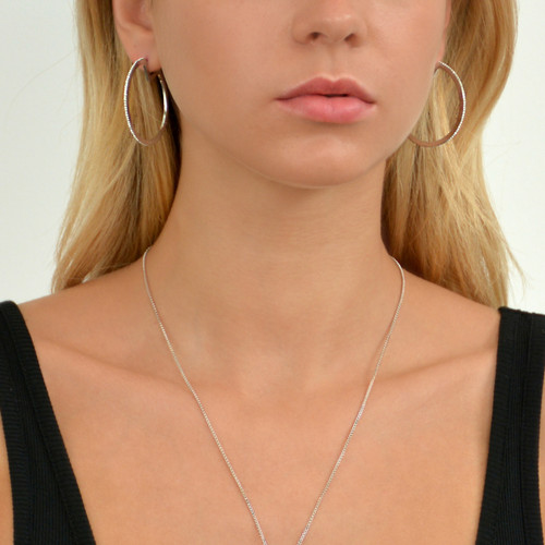Glitzy Pac-Man Hoop Earrings Silver