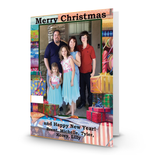 All Wrapped Up Holiday  Photo Card Black Font