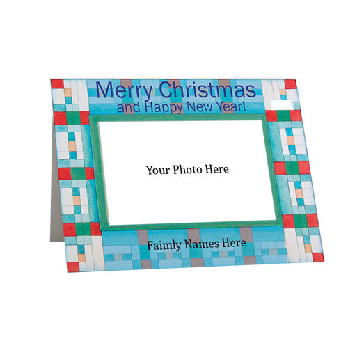 Christmas Blue Squares Holiday Photo Card - Single Cards