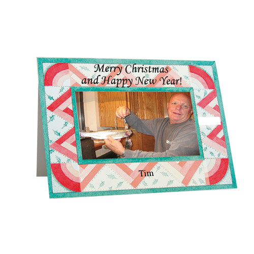 """Designer Holiday  Photo Card """"Christmas Quilt"""" in Sets - (Black Font) - Box Mailed to You - BMTY"""