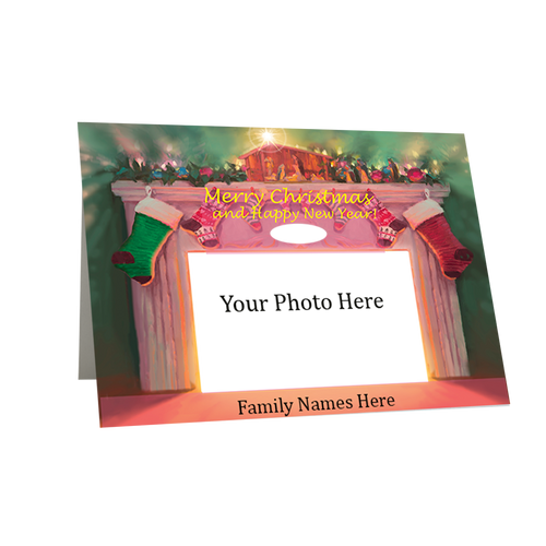 Designer Holiday Photo Card Folded in Boxed Set - Creche and Hearth -BMTY