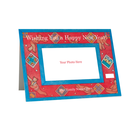 Designer Holiday  Photo Card - New Years Bears  in Sets - Box Mailed to You  BMTY
