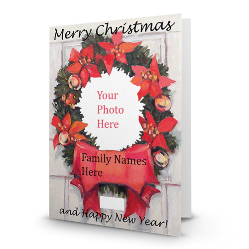 Christmas Wreath Black Font - Holiday  Designer Photo Card  BMTY