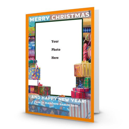 Designer Holiday Photo Card All Wrapped Up in Sets White Font - Box Mailed to You BMTY