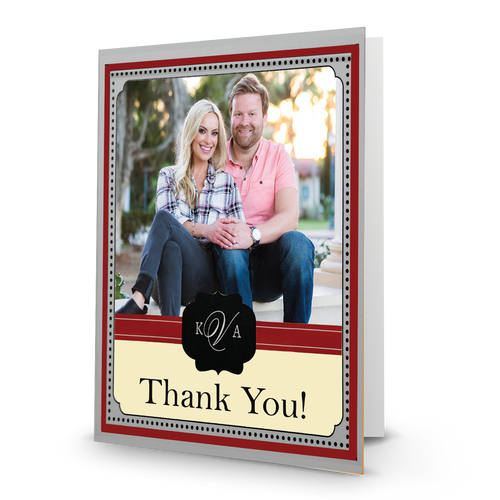 K & A Thank You  Photo Card 23 Portrait, Folded - BMTY
