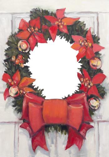 "Designer Holiday Photo Card ""Christmas Wreath"" Singles & Sets Full Service Direct Mail FSDM"