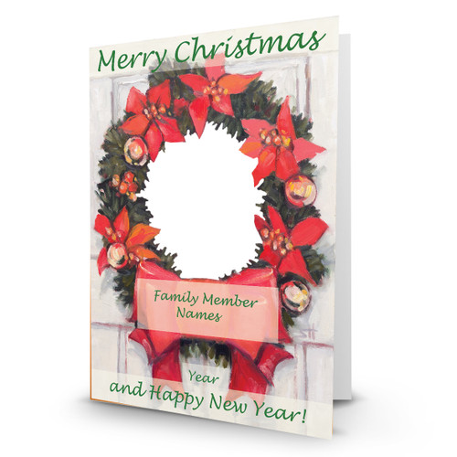 """Designer Holiday Photo Card """"Christmas Wreath"""" Singles & Sets Full Service Direct Mailed FSDM"""