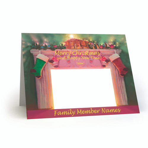 """Designer Holiday Photo Card Folded  """"Creche and Hearth"""" Singles and Sets - Full Service Direct Mailed FSDM"""