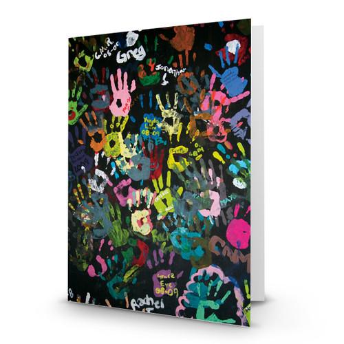 Art Colorful Childrens Handprints on Blackboard - CC100