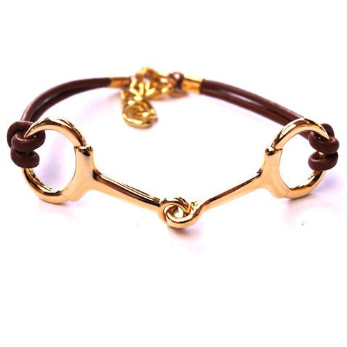 Horse jewellery snaffle bit leather bracelet gold solutioingenieria Image collections