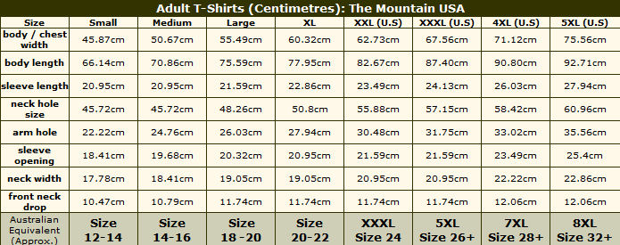 Adult T-Shirt sizing