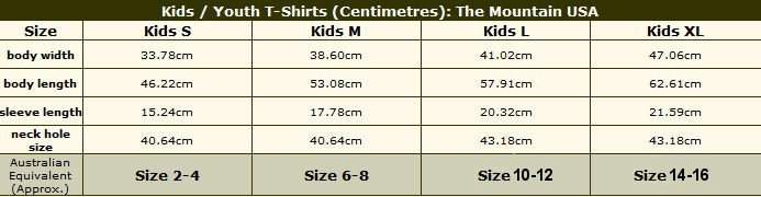 Child/Youth T-Shirt sizing