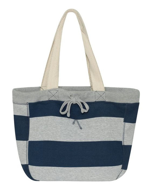 Navy Striped Sweatshirt Tote