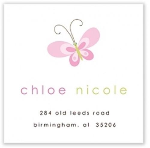 Pink Butterfly Address Label