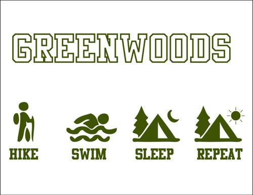Hike Sleep Swim Repeat Camp Postcard