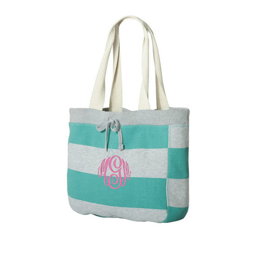 Teal Striped Sweatshirt Tote