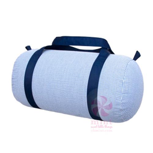 Navy Seersucker Duffel Bag