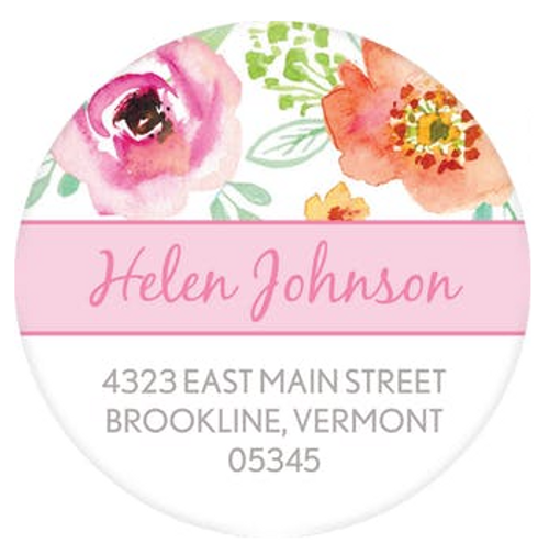 Pink Watercolor Blossom Wreath Address Label
