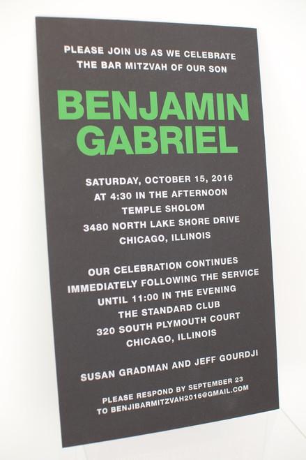 Benjamin Gabriel: Bar Mitzvah Invitation