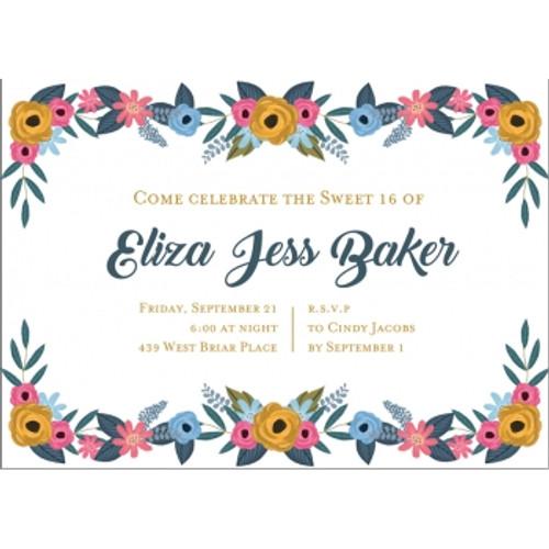 Floral Border Birthday Invitation