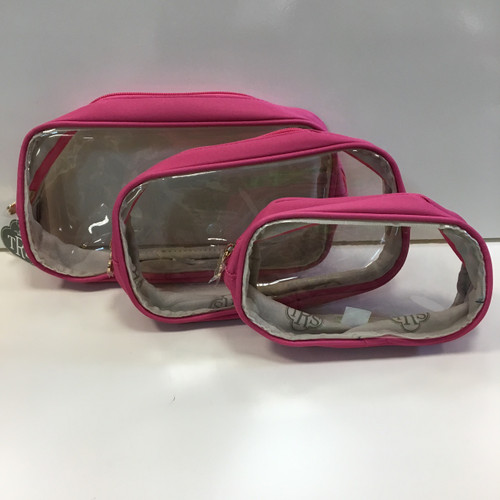 Set of 3 Pink Cosmetic Bags