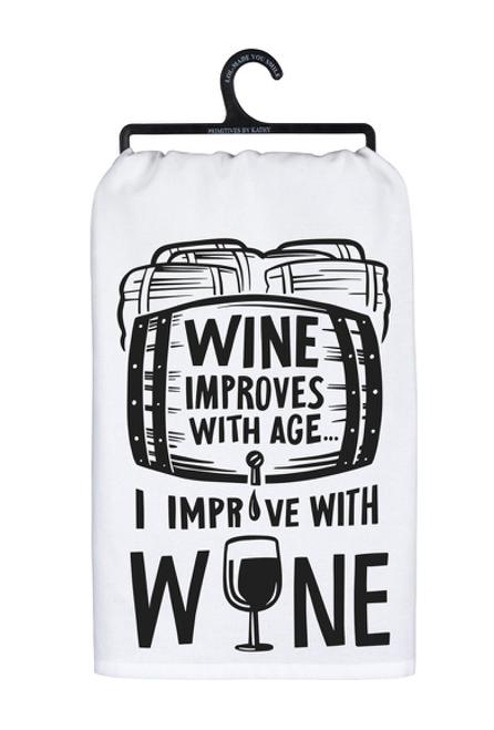 I Improve With Wine Dish Towel