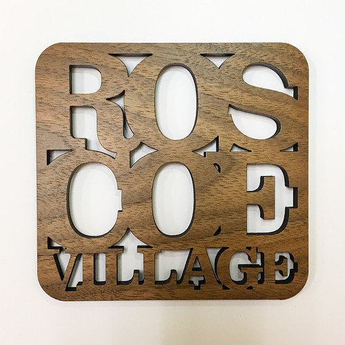 Roscoe Village Wooden Coaster Set
