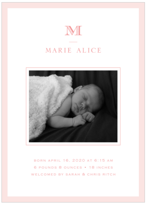 Pink Perfectly Framed Birth Announcement