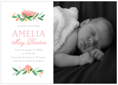 Painted Peonies Birth Announcement