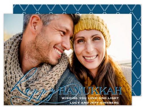 Happy Hanukkah Script Overlay Holiday Card