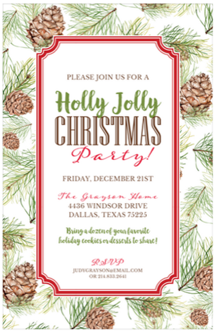 Pine Cone Holiday Event Invitation
