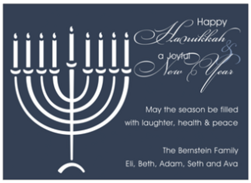 Menorah on Blue Holiday Greeting Card