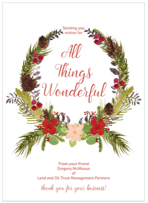 Botanical Wreath Flat Holiday Greeting Card
