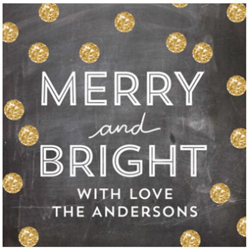 Glittery Dots Square Holiday Sticker