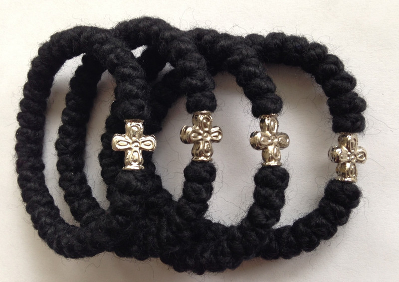 PRAYER ROPES, wrist, with metal cross bead