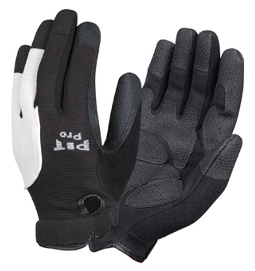 77671: Pit Pro Black Reinforced Palm/Black & White Back Gloves