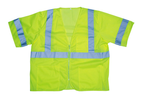 V3001: Cor-Brite Class III Lime Mesh Safety Vest