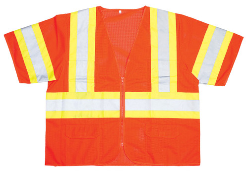 V3200: Cor-Brite Class III Orange Mesh Safety Vest with Reflecting Tape on Contrasting Background Tape