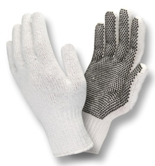 3800: Bleached/PVC Dots on 1 Side/String Knit Gloves - 12 Pack