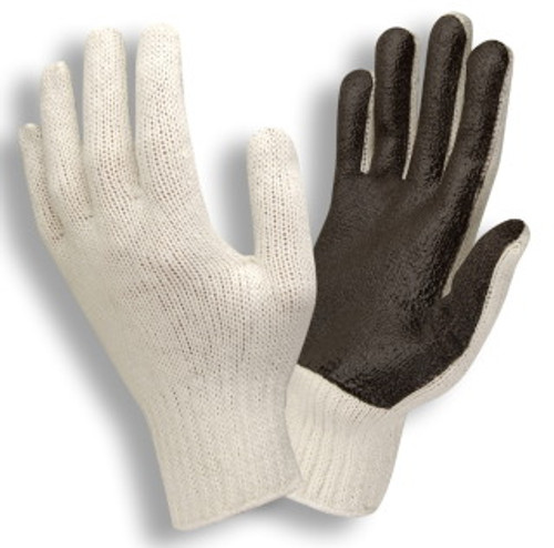 3870: Solid Screen/ PVC Palm Coated/String Knit Gloves - 12 Pack