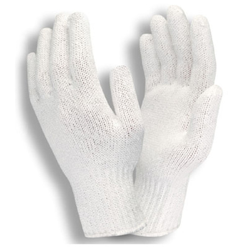 3500: Medium Weight, Bleached White String Knit Gloves - 12 Pack