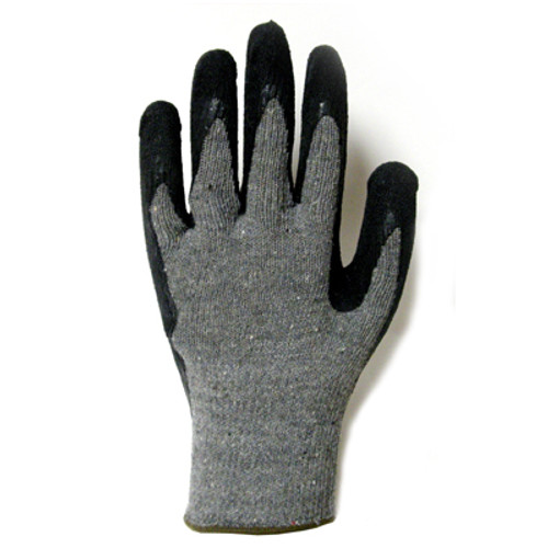 3885: Economy Dark Gray/Black Crinkle Latex Coating String Knit Gloves  12 Pack