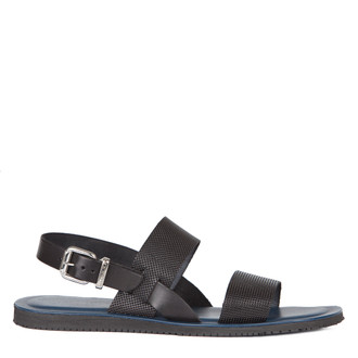 Men's Black Leather Sandals GA 7157817 BLK