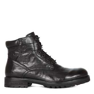 Boots in Washed Black Leather | TJ COLLECTION | Main Image